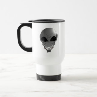 Grey alien travel coffee mug