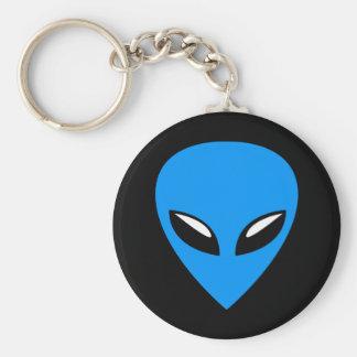 Grey Alien UFO Blue Basic Round Button Key Ring