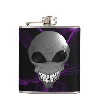 Grey alien Vinyl Wrapped Flask