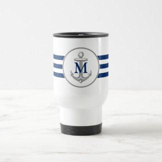Grey Anchor and Navy Blue Monogram Travel Mug