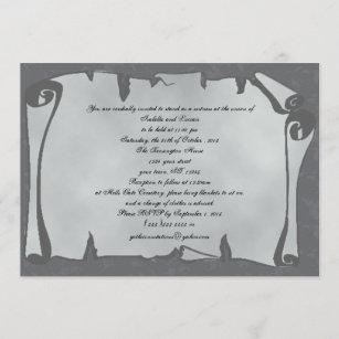 Grey Ancient Scroll Goth Wedding Invitations