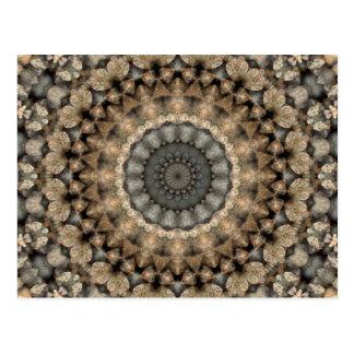 Grey and Beige Pebbles Mandala Kaleidoscope Postcard