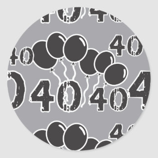 Grey and BLACK 40th Birthday - 40 yrs old Bday Round Sticker