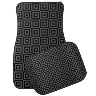 Grey and Black Abstract Square Pattern Car Mat