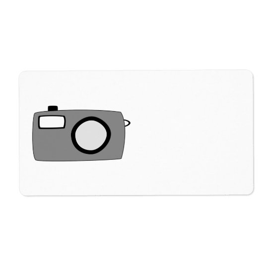 Grey and Black Camera. On White. Shipping Label