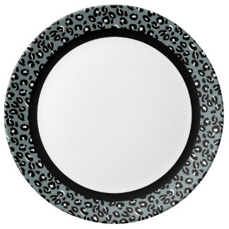 Grey and Black Leopard with Black Band on White Porcelain Plate