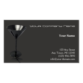 Grey and Black Martini Glass Business Business Card