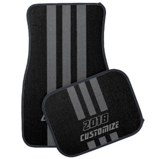 Grey And Black Race Double Stripes Floor Mat