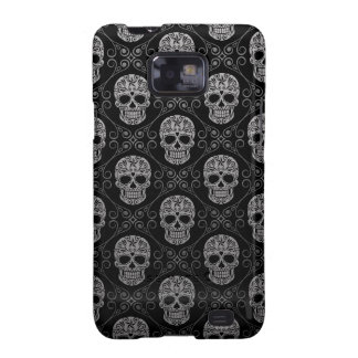 Grey and Black Sugar Skull Pattern Samsung Galaxy SII Cover