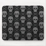 Grey and Black Sugar Skull Pattern Mousepads