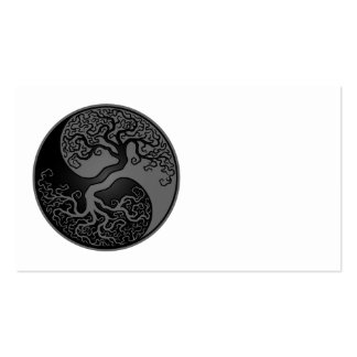Grey and Black Tree of Life Yin Yang Business Card Template