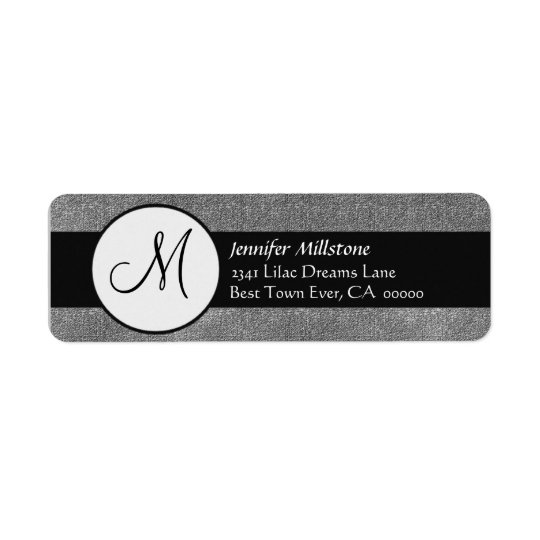 Grey and Black Wedding Monogram Address Label