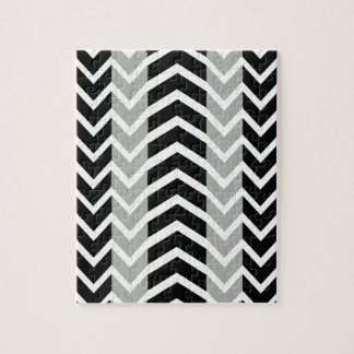Grey and Black Whale Chevron Jigsaw Puzzle