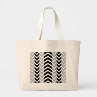 Grey and Black Whale Chevron Large Tote Bag