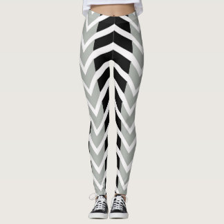 Grey and Black Whale Chevron Leggings
