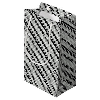 Grey and Black Whale Chevron Small Gift Bag