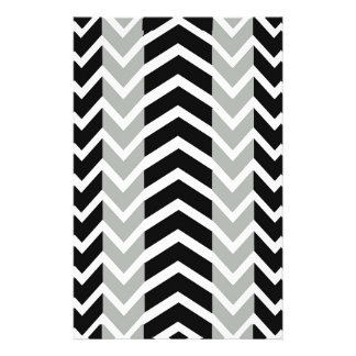 Grey and Black Whale Chevron Stationery