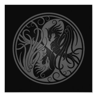 "Grey and Black Yin Yang Phoenix 5.25"" Square Invitation Card"