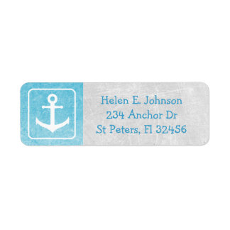 Grey and Blue Anchor Return Mailing Address Label