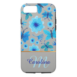 Grey and Blue Floral Butterflies,  Name &Monogram iPhone 7 Case