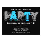 Grey and Blue Grunge Birthday Party Invitation