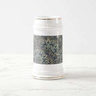 Grey and blue mandala pattern. beer stein