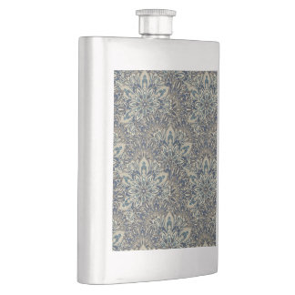 Grey and blue mandala pattern. hip flask