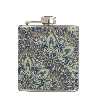 Grey and blue mandala pattern hip flask