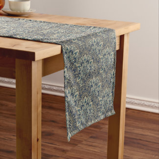 Grey and blue mandala pattern. short table runner