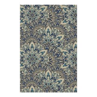 Grey and blue mandala pattern. stationery