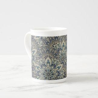 Grey and blue mandala pattern tea cup