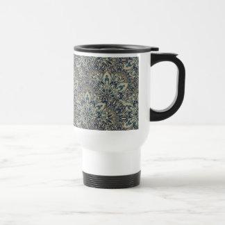 Grey and blue mandala pattern. travel mug