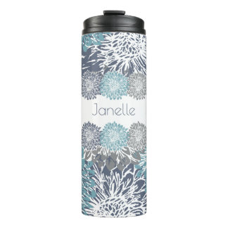 Grey and Blue Mums Thermal Tumbler