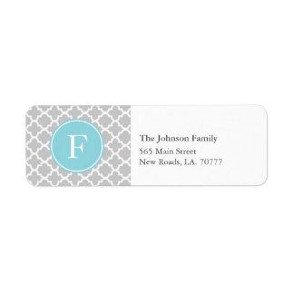 Grey and Blue Quatrefoil Monogram Address Labels
