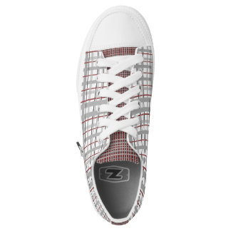 Grey and Burgundy Red Plaid Checkered Sneaker Printed Shoes