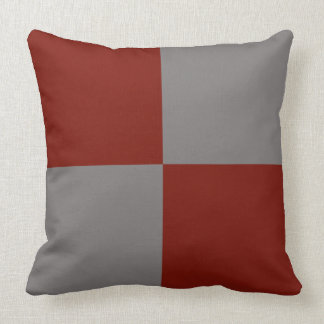 Grey and dark red pillow. throw pillow
