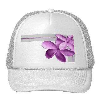 Grey and Eggplant Plumeria Trucker Hat