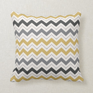 grey and goldenrod chevron and dots pattern throw pillow