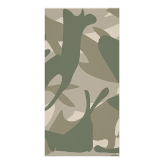 Grey and Green Camouflage Personalized Photo Card