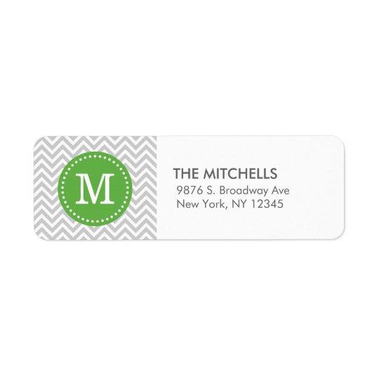Grey and Green Modern Chevron Custom Monogram Return Address Label