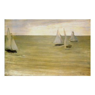 Grey and green the silver sea by Whistler Print