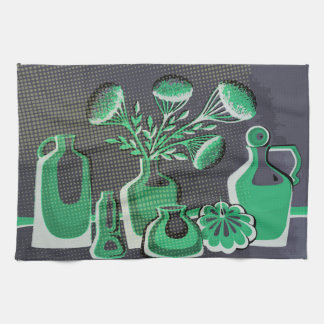 Grey and grey home kitchen themed design for cafe tea towel