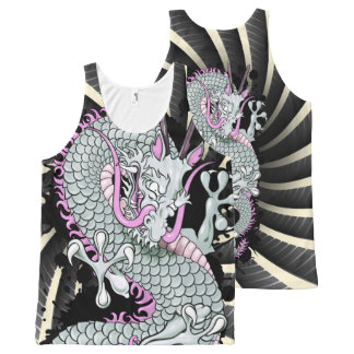 Grey and Lilac Splash Dragon with Wind Bars All-Over Print Singlet