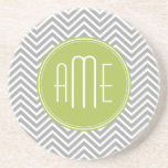 Grey and Lime Chevrons with Custom Monogram