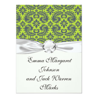 grey and lime ornate damask pattern personalized invitations