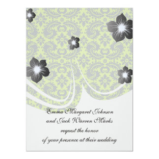 grey and lime ornate damask pattern announcement