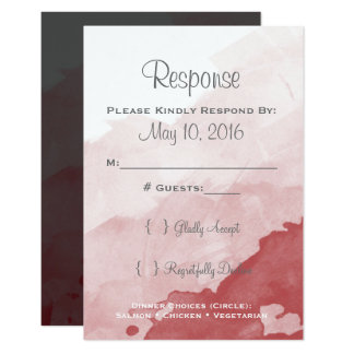 Grey and Maroon Wedding Invitaion RSVP Card