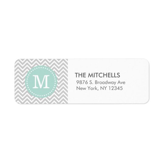 Grey and Mint Modern Chevron Custom Monogram Return Address Label