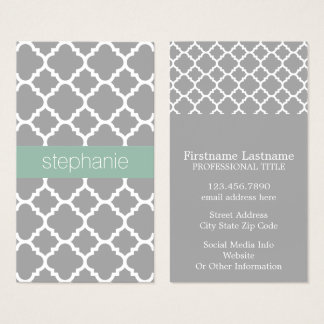 Grey and Mint Quatrefoil Pattern Custom Name Business Card