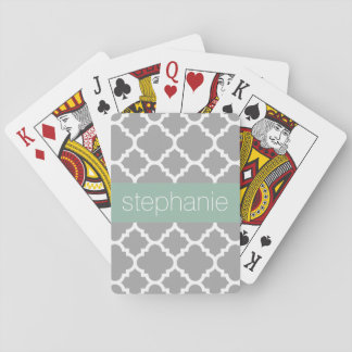 Grey and Mint Quatrefoil Pattern Custom Name Playing Cards
